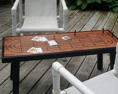 Cribbage Board Table With Accent Border The Guyu0027s