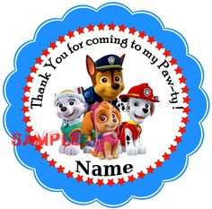 Paw Patrol Personalized Stickers, Party Favor Tags, Thank You Tags, Gift Tags, Birthday, Baby Shower by bryansstickershack on Etsy https://www.etsy.com/listing/228287793/paw-patrol-personalized-stickers-party