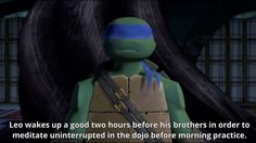 Well good for you Leo! You just keep practicing and if you put your mind to it, well, then you can do anything! Tmnt Turtles, Teenage Ninja Turtles, Tmnt 2012, Tmnt Leo, Tmnt Mikey, Turtle Facts, Turtles Forever, Leonardo Tmnt, Nickelodeon