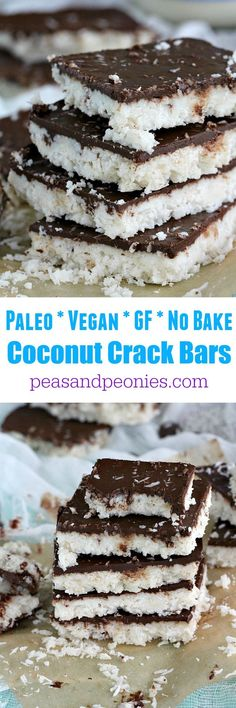 Paleo Coconut Crack Bars - Vegan, No Bake - Peas and Peonies
