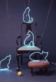 light art installation Neon Cats Sculpture by artist Pacifico Palumbo ~~ oh my goodness, I want these! Crazy Cat Lady, Crazy Cats, Neon Cat, Instalation Art, Neon Aesthetic, Neon Lighting, Light Art, Cat Art, Sculptures