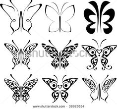 butterfly patterns to trace | Set of stylized tattoo butterfly. Abstract black and white images ...