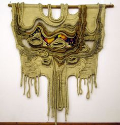 Stunning piece, full of emotion, by the great fiber / textile artist Gabriella Farkas, completed in Hungary, 1975.