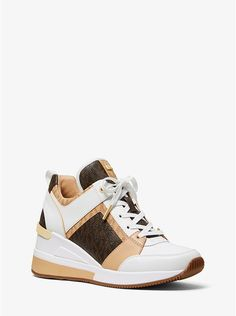 b46014069e779 Georgie Logo And Leather Trainer | Michael Kors Slip On Sneakers, Platform  Sneakers, All