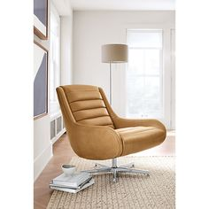Remsen Leather Swivel Chair & Ottoman - Swivel Chairs - Modern Living Room Furniture - Room & Board