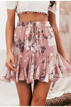 019cd853b8 Bohemian floral print womens skirt featuring an elastic waist and ruffled  hem for some extra flow