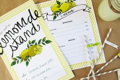 """""""FREE Printables"""" - Lemonade Stand Printables - Such a cute idea - Link incudes PDF template for Lemonade Stand Poster, Menu and Straw Drink Flags."""