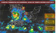 FUERTES TORMENTAS EN GUERRERO, AVISO DE TIEMPO SEVERO EN EL ESTADO!!!  Acapulco de Juárez Guerrero, a 6 de Octubre de 2016.- El pronóstico para hoy es de tormentas muy fuertes, de 50 a 75 milímetros (mm), en regiones de Guerrero y Chiapas, tormentas fuertes (de 25 a 50 mm) en zonas de Oaxaca, Jalisco, Michoacán...