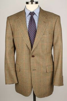 Brooks Brothers 346 Beige Plaid Wool 42 R mens Sport Coat