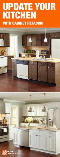 Get your own before and after with a mini-makeover for your kitchen. Cabinet refacing with The Home Depot can give your space a whole new look. And you can still use your kitchen during the quick three to five day install. Pick out your new hardware, cabinet doors and finishes or add an island or countertops to complete the look and then leave the installation to us. Click through to learn more about this mini-remodel for your kitchen.