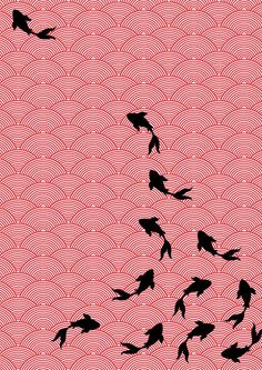 Asian style fabric design- Koi motif by Choomi Kim, via Behance