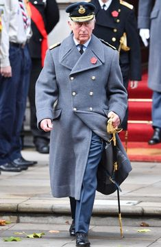 Prince Charles was tasked with laying the Queen's wreath this morning