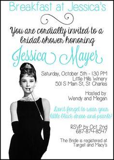 Breakfast at Tiffany's Audrey Hepburn Bridal or Baby Shower Invitation 5x7 Digital File