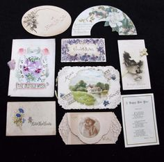 9 x Various Antique & Vintage Victorian Printed New Years Greeting Cards  | eBay