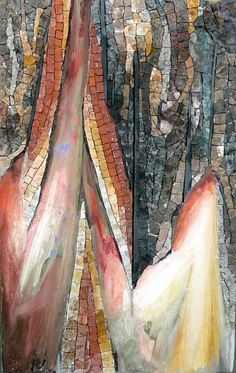 Faille, by Patricia Hourcq. - marbre, granit, terre cuite, fresque