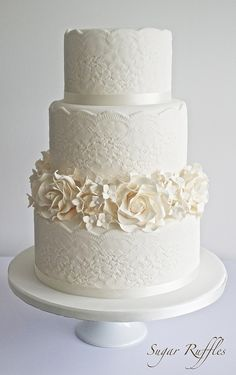 Lace Wedding Cake ~ we ❤ this!  moncheribridals.com ~  #weddingcake