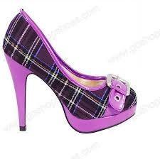 Purple black strap high heel