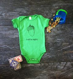bb4400a4c Cotton Baby Onesie Bodysuit - I Will Be Mighty Screen Print Acorn - Grass  Green - Gender Neutral Gift Idea