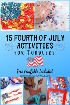 These 15 toddler of July activities chosen specifically for young children add some patriotic fun to your art and sensory centers. Includes a free star sorting printable! Crafts For 2 Year Olds, Activities For 2 Year Olds, Summer Activities For Kids, July Crafts, Summer Crafts, Summer Fun, Summer Ideas, Infant Activities, Preschool Activities