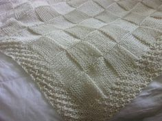 Hand knit Baby Blanket in large Block pattern with by DarellaBaby