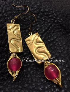 brass sheet and round stone bead earring