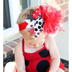 Lady bug over the top hair bow