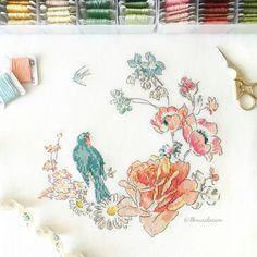 HELENE LE BERRE Les oiseaux à broder au point de croix