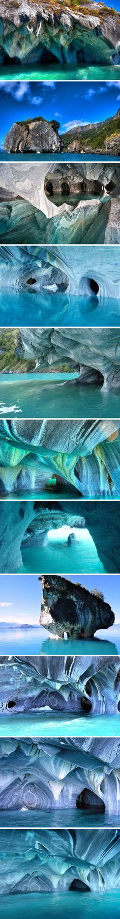 Marble Caves of Patagonia in Chile – Lake Carrera. The lake is on the border of Argentina and Chile, and the caves are located on the side of Chile. The caves are the three main grotto: Chapel (La capillaries), Church (El Catedral) and Cave (Cueva). Places Around The World, Oh The Places You'll Go, Places To Travel, Places To Visit, South America Travel, Adventure Is Out There, Travel Goals, Wonders Of The World, Kayaking
