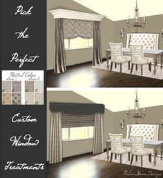 Monochromatic Color Scheme, Window Ideas, Valance Curtains, Design Projects, Color Schemes, Dining Room, House Design, Windows, Home Decor