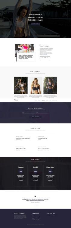 Fitness is a clean and beautiful classic HTML5 Bootstrap one page website template that suits for fitness club as well as gym websites. Features include sticky menu, hero slider, pricing table, news-letter sign up and many more. Fitness template is fully responsive built with Bootstrap 3 framework.