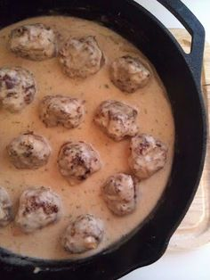 Swedish Meatballs. These were so good and so easy. Of course we had them scootched up next to a giant mound of mashed.