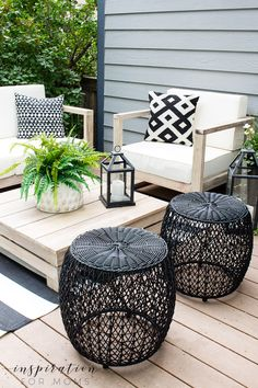 Welcome to our backyard patio deck! We finally created an easy outdoor living space that our family loves. And we are enjoying every minute! # outdoor Furniture How To Decorate for Easy Outdoor Living - Inspiration For Moms Outdoor Living Space, Outdoor Decor, Deck Decorating, Resin Patio Furniture, Backyard Furniture, Living Spaces, Deck Furniture, Outdoor Living, Outdoor Living Furniture
