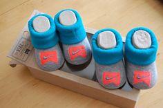 NIke Infant Booties Gray Blue Orange 0 6 months 2 pair NEW #Nike #Booties