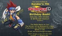 Beyblade Invitation & Battle Card: remember medals/ trophies
