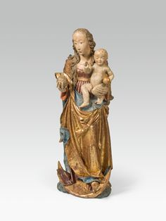 Carved from linden wood, this virgin on the crescent was created around 1500 in Germany. Wonderfully preserved, it still shines in its old colouration and gilding. Standing on the crescent of the moon, she holds a pomegranate in her right hand and the baby Jesus in her left. Modern Art, Contemporary Art, Linden Wood, Baby Jesus, Pomegranate, Art Nouveau, Germany, Auction, Carving