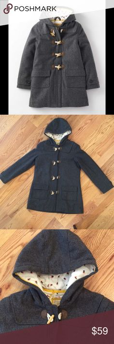 """Boden The Duffle Coat in Dark Gray Marl The Duffle Coat in Dark Gray Marl. From Boden Girls Collection. Exterior is 62% Wool 38% polyester. Interior is lined with soft quilted 100% cotton flannel. Hidden front zipper as well as toggle closures. Excellent condition. Girls size 15/16 will also fit women's XS or S. Width at armpits 20.5"""". Sleeve length from shoulder seam is 24"""". Length 32"""". Comment with any questions or make an offer. Boden Jackets & Coats"""