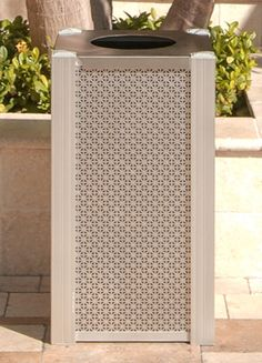 Trash bin with perforated aluminum panels Hotel Mall Food Court