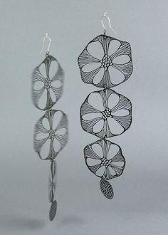 Slast Earrings Black Flower Chain, by Alena Willroth