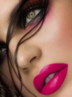 Perfect pink lips dramatic eyes