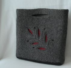 Felted wool 'Big City' bag - hand knit purse in charcoal gray $68 from lavenderhillknits