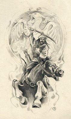 Hun warrior by fpista desenho Ink Pen Drawings, Tattoo Sketches, Tattoo Drawings, Tattoo Ink, Samurai, Hungarian Tattoo, Hungary History, Japanese Tattoos For Men, Horse Tattoo Design