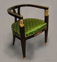 "An Empire Style Desk Chair with Gilt-Bronze Mounts Ca1900 France. 29.92""H x 25.2""W x 21.65""D."