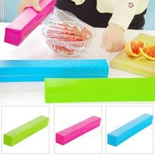 Plastic Kitchen Foil And Cling Film Wrap Dispenser Cutter Storage Holder 3 Color New XQ Drop shipping(China)