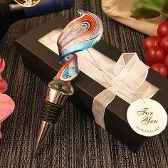 """Swirl Design"" Arte Murano Bottle Stopper | Ruby Blanc, Wholesale Wedding Favors  #wedding #weddings #weddingfavor #bottlestoppers #murano #weddingfavors #rubyblanc"