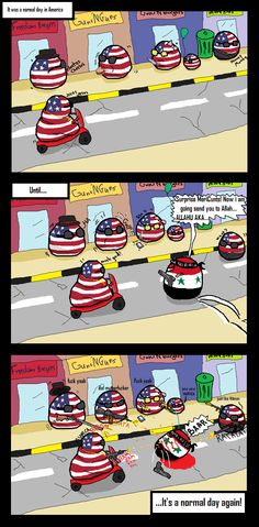 A normal day in America (USA) by palball #polandball #countryball