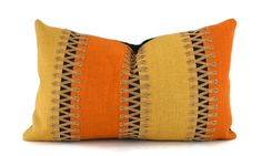 Lumbar Throw Pillow Cover, Roger Arlington Gaultier in Gold, Orange & Black with Tan Soutache Trim, 12x20 Lumbar Pillow