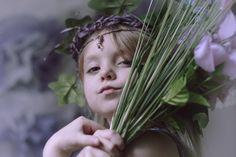 gatherer, child, fairy tale, portraiture, photography, purple lilac, lavender, fantasy, flowers, little girl, princess