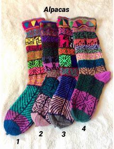 2 Pairs of Alpaca Wool Socks Peruvian Llama Winter Warm Handmade Artisan Gifts