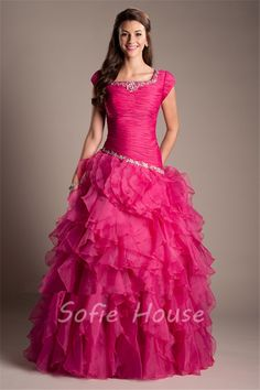Ball Gown Square Neck Hot Pink Organza Ruffle Modest Prom Dress With Sleeves