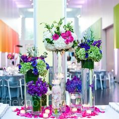 tall arrangements at the welcome table